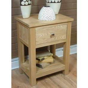 Mobel Oak One Drawer Single Shelf Lamp Table