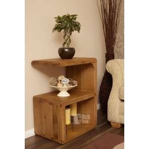 Danube Weathered Oak Cube Lamp Table