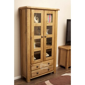 Danube Weathered Oak Display Cabinet