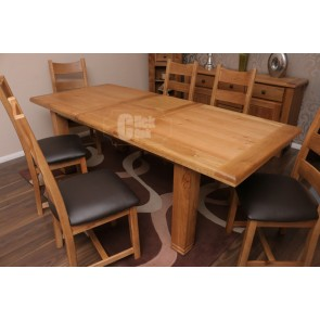 Danube Large Rustic Oak Extending Dining Table and Chairs