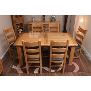 Danube Rustic Oak Extending Dining Table and Chairs
