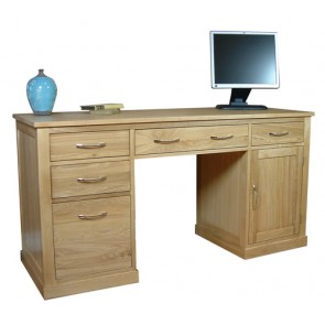 Chiltern Oak Twin Pedestal Computer Desk Workstation