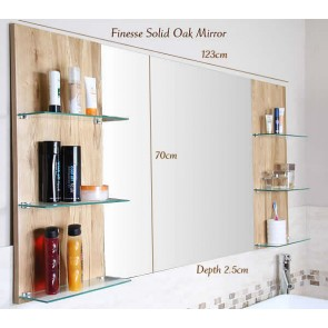 Solid Light Oak Vanity Unit Mirror