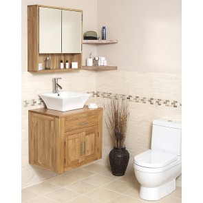Wall Mounted Solid Oak Vanity Unit
