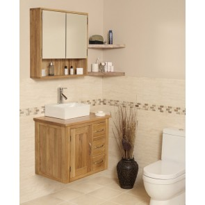 Solid Oak Wall Mounted Vanity Unit