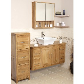 Solid Oak Wall Mounted Cabinet Vanity