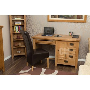Vancoover Rustic Oak Single Pedestal Computer Desk