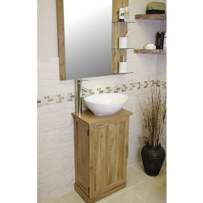 Atla Slim Oak Vanity with Oak Mirror
