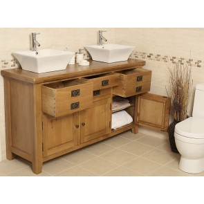Valencia Double Rustic Oak Vanity Unit