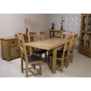 Rustic Oak Dining Table and Chairs Set
