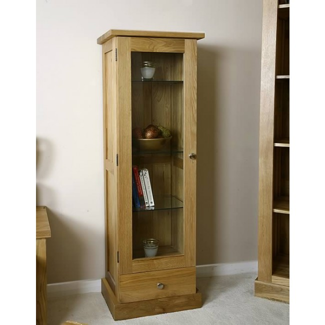 Glenmore Light Oak Glazed Display Cabinet Click Oak