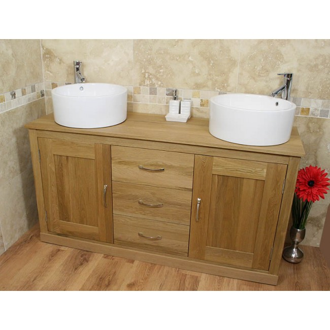Light Oak Furniture Large Ceramic Bathroom Sink Unit ...