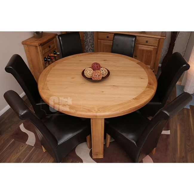 Danube Rustic Oak Round Dining Table and Chairs Set ...