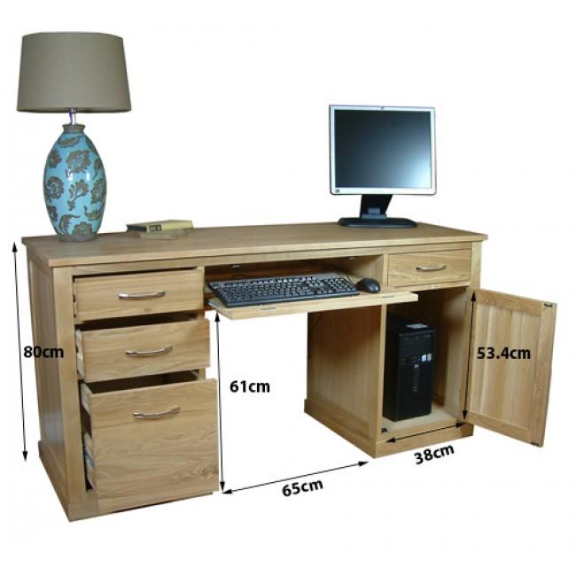 chiltern oak twin pedestal computer desk workstation