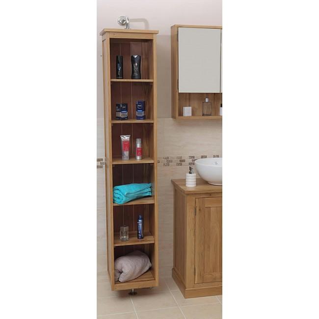 Solid Oak Rotating Mirrored Bathroom Storage Unit Click Oak