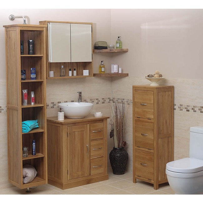 Solid Oak Rotating Mirrored Bathroom Storage Unit Click Oak