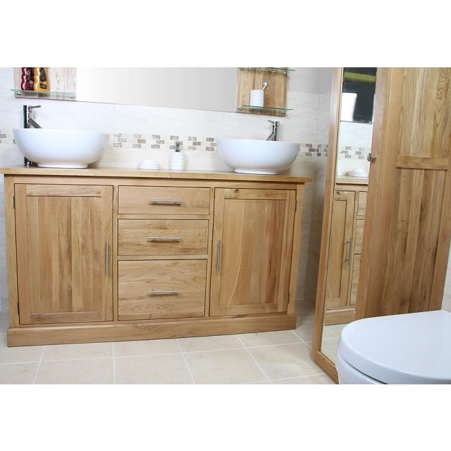 Atla large double bathroom vanity unit click oak atla double oak bathroom vanity unit mozeypictures Image collections