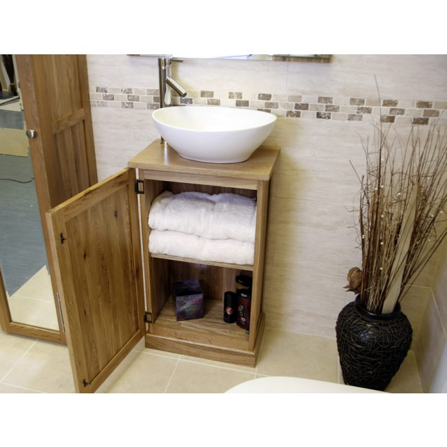 Atla slimline compact oak bathroom vanity unit click oak light oak bathroom vanity unit mozeypictures Image collections