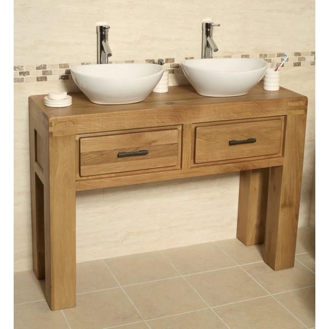 Milan Double Oak Free Standing Bathroom Vanity Unit ...