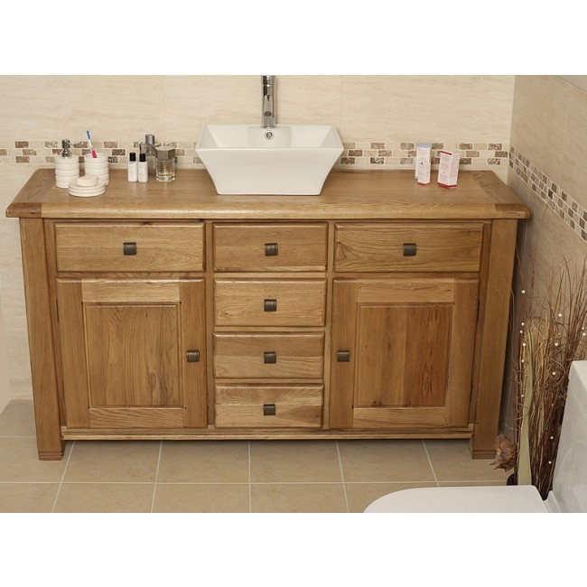 Ohio large rustic oak bathroom vanity unit click oak for Large bathroom units