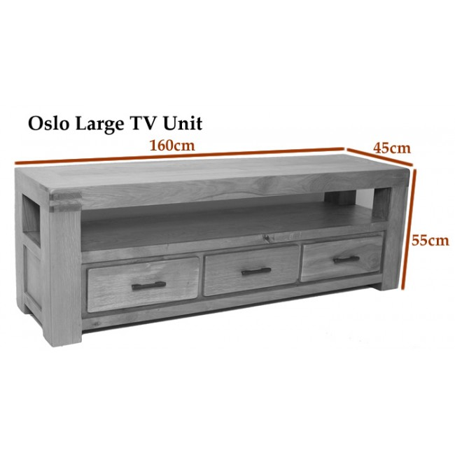 Oslo Oak Rustic Oak Large Tv Stand Cabinet Click Oak