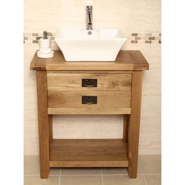 rustic oak bathroom furniture. Valencia Medium Rustic Oak Vanity Unit  Click