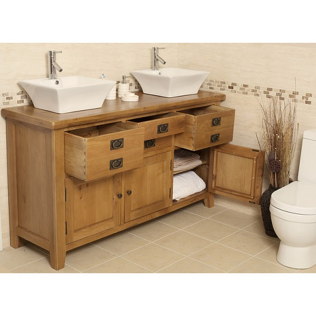 rustic oak bathroom furniture. Valencia Double Rustic Oak Vanity Unit Large  Click