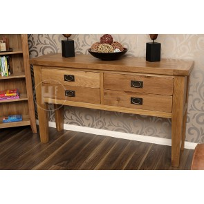 Rustic Oak Compact Console Table