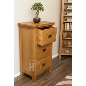 Rustic Oak Filing Cabinet