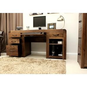Shiro Walnut Twin Pedestal Computer desk