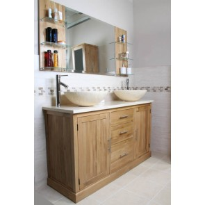 oak vanity unit set with marble