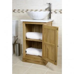 Atla Marble and Oak Bathroom Vanity Unit
