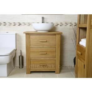 Solid Light Oak Bathroom Vanity Unit