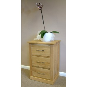 Mobel Oak Bedside Table with 3 Drawers