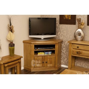 Danube Weathered Oak Corner TV Stand