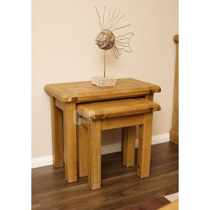 Danube Rustic Oak Nest Of Tables