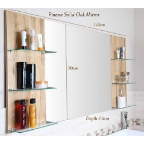 Finesse Large Solid Oak Bathroom Mirror