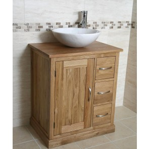 Oak and White Marble Vanity Unit