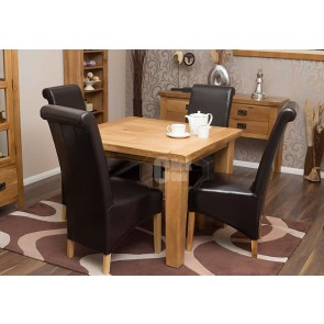 Rustic Oak Square Dining Table and Chairs