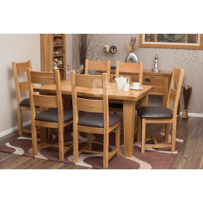 Rustic Oak Extending Dining Room Table and Chairs