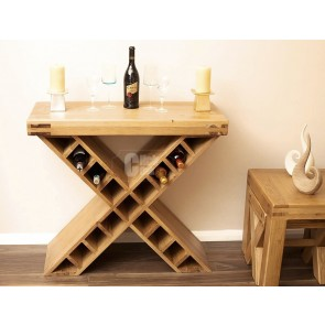 Oslo Rustic Oak Cross Wine Rack Storage