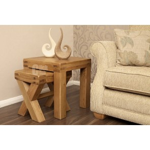 Oslo Rustic Oak Cross Twin Nest Of Tables